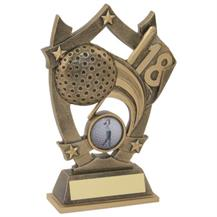 JR2-RF499 Bronze/Gold Resin Golf 5 Star Trophy