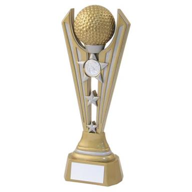 JR2-RF722 Gold/Silver Resin Golf Tri Star Trophy