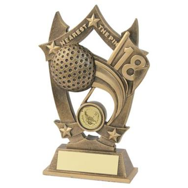JR2-RF499NTP Bronze/Gold Resin Golf 'Nearest The Pin' 5 Star Trophy