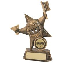 JR8-RF605 Bronze/Gold Resin Motor Sport 'Comic Star' Figure Trophy