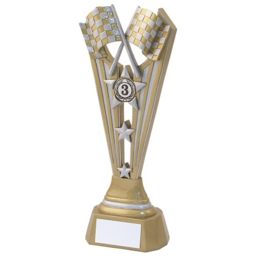JR8-RF728A Gold/Silver Resin Motor Sport Tri Star Trophy