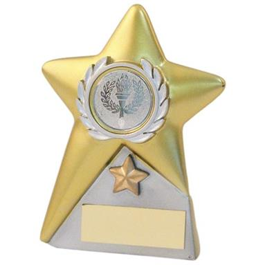 JR9-RF760 Gold/Silver Resin Generic Star Plaque Trophy