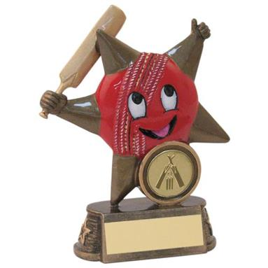JR6-RF606 Bronze/Gold/Red Resin Cricket 'Comic Star' Figure Trophy