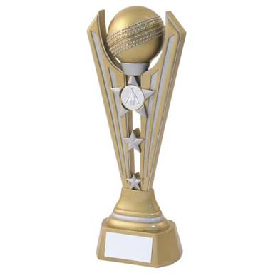 JR6-RF726 Gold/Silver Resin Cricket Tri Star Trophy