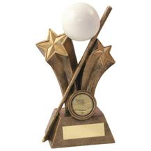 JR5-RF525 Bronze/Gold/White Resin Pool/Snooker Ball+Cue Trophy