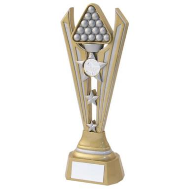 JR5-RF725 Gold/Silver Resin Pool/Snooker Tri Star Trophy