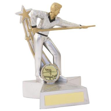 JR5-RF894 Silver/Gold/Black Resin Pool/Snooker 'Star Action' Figure Trophy