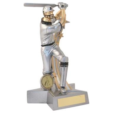 JR6-RF883 Silver/Gold/Black Resin Cricket 'Star Action' Batsman Figure Trophy