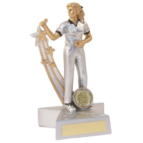 JR3-RF889 Silver/Gold/Black Resin Female Darts 'Star Action' Figure Trophy
