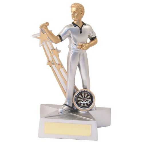 JR3-RF888 Silver/Gold/Black Resin Male Darts 'Star Action' Figure Trophy