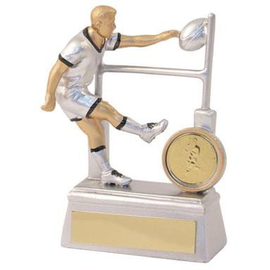 JR4-RF861 Silver/Gold/Black Resin Rugby Player+Posts Trophy