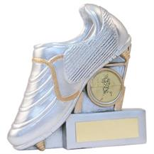 JR4-RF834 Silver/Gold Resin Rugby Boot+Posts Flatback Trophy
