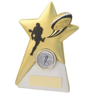 JR4-RF762 Gold/Silver Resin Rugby Star Plaque Trophy