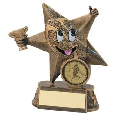 JR4-RF604 Bronze/Gold Resin Rugby 'Comic Star' Figure Trophy
