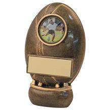 JR4-RF163 Bronze/Gold Resin Rugby Ball+Kicking Tee Trophy
