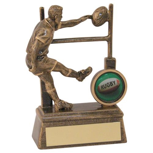 JR4-RF161 Bronze/Gold Resin Rugby Player+Posts Trophy