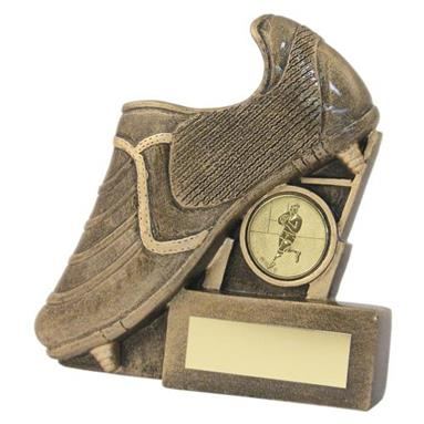 JR4-RF134 Bronze/Gold Resin Rugby Boot+Posts Flatback Trophy