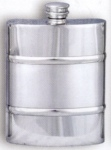 Plain Satin Band Pewter Flask