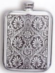Victorian Leaves Pewter Flask
