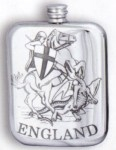 Stamped George & Dragon Pewter Flask