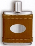 Drinking Flask bound in Leather - Screw Top