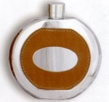 Drinking Flask (Round) bound in Leather - Screw Top