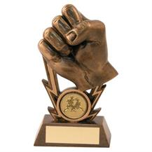 Bronze/Gold Martial Arts Fist On Strikes Trophy