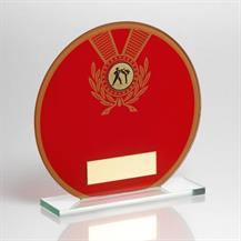 Jade Glass Round Plaque(Red/Gold) With Martial Arts Insert Trophy