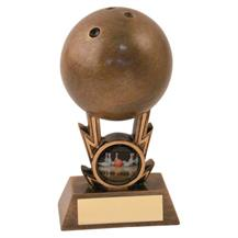 JR14-RF435 Bronze/Gold Ten Pin Ball On Strikes Trophy (1In Centre)