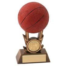 Bronze/Gold/Orange Basketball On Strikes Trophy