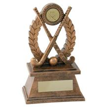 JR18-RF567 Bronze/Gold 'Hockey' Oval Wreath Trophy (1In Centre)