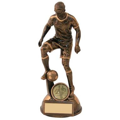 Bronze/Gold Male Football 'Control' Figure Trophy