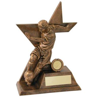 Bronze/Gold Male Football 'Kicking' Figure On Star Trophy (1In Centre)