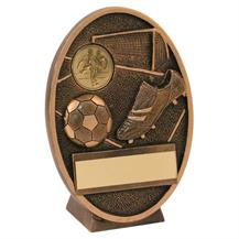 Bronze/Gold Football+Boot Oval Plaque Trophy (1In Centre)