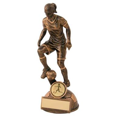 JR1-RF158 Bronze/Gold Female Football 'Control' Figure Trophy