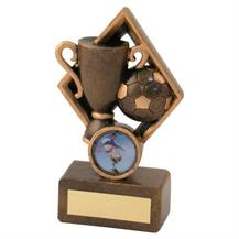 JR1-RF259 Bronze/Gold Football+Cup In Diamond Trophy (1In Centre)