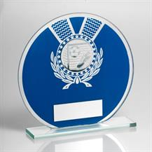 JR1-TD229 Jade Glass Round Plaque(Blue/Silver) With Football Insert Trophy