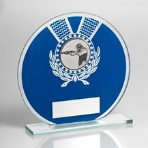 Jade Glass Round Plaque(Blue/Silver) With Shooting Insert Trophy