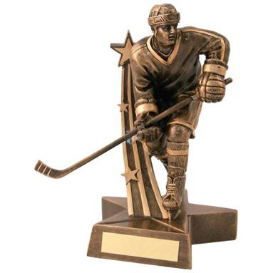 Bronze/Gold Male Ice Hockey 'Star Action' Figure Trophy JR25-RF128