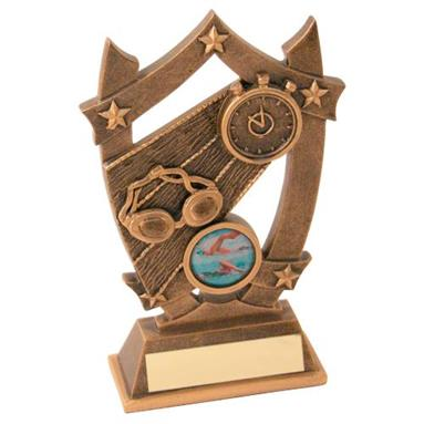 Bronze/Gold Swimming 5-Star Shield Trophy