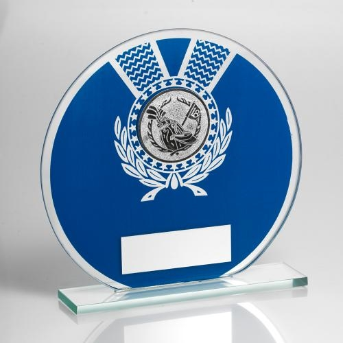 JR2-TD229 Jade Glass Round Plaque(Blue/Silver) With Golf Insert Trophy