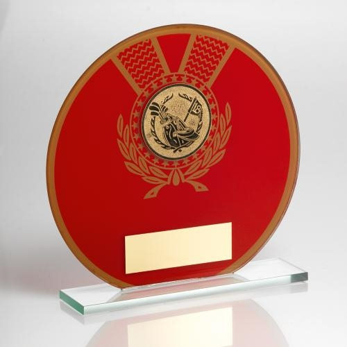 JR2-TD129 Jade Glass Round Plaque(Red/Gold) With Golf Insert Trophy