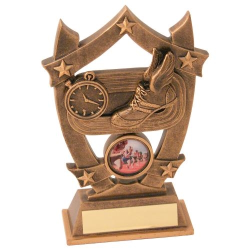 JR30-RF475 Bronze/Gold Athletics 5-Star Shield Trophy (1In Centre)