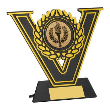 JR34-BS10 Black/Gold Plastic Plaque Trophy (2In Centre)