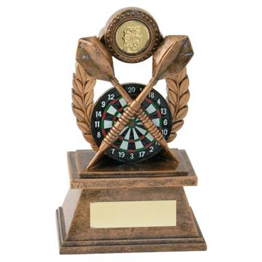 Bronze/Gold 'Darts' Oval Wreath Trophy JR3-RF563
