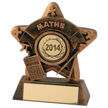 JR44-RF406 Bronze/Gold Maths Mini Star Trophy(1In Centre)