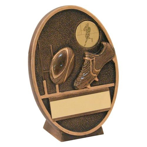 JR4-RF202 Bronze/Gold Rugby Ball+Boot Oval Plaque Trophy (1In Centre)