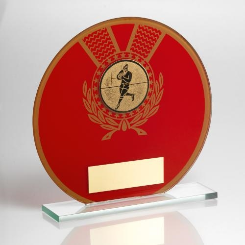 JR4-TD129 Jade Glass Round Plaque(Red/Gold) With Rugby Insert Trophy