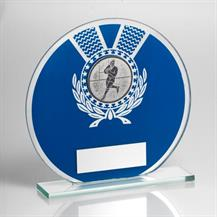JR4-TD229 Jade Glass Round Plaque(Blue/Silver) With Rugby Insert Trophy