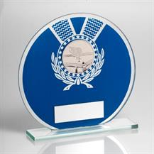 Jade Glass Round Plaque(Blue/Silver) With Pool/Snooker Insert Trophy R5-TD229